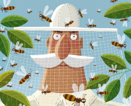 """""""Umsäuselt von summenden Bienen ..."""" – Ausschnitt aus dem Buchcover """"Bienen"""" von Piotr Socha © Gerstenberg Verlag"""