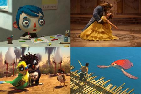 Kinderfilme im Frühjahr 2017 (v.l.n.r.): Mein Leben als Zucchini | Die Schöne und das Biest | Überflieger - Kleine Vögel, großes Geklapper | Die rote Schildkröte