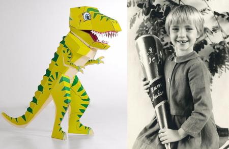 """Die Schultüte heute und gestern: Als Dinosaurier """"Schulrex"""" im 3D-Design von """"Der kleine Knick"""", 2016, und """"klassisch"""" im Jahr 1965"""
