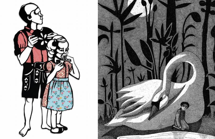 Illustrationen von Sybille Schenker und Mehrdad Zaeri. Zwei der 30 Originalwerke, die der Ehrengast Deutschland in Bologna präsentierte