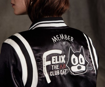 "Comic Fashion für coole Katzen: die Bomberjacke mit aufgesticktem ""Felix the Cat Club"" Membership-Statement"