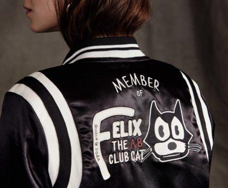 "Comic Fashion für coole Katzen: die Bomberjacke mit aufgesticktem ""Felix the Cat Club"" Membership-Statement"