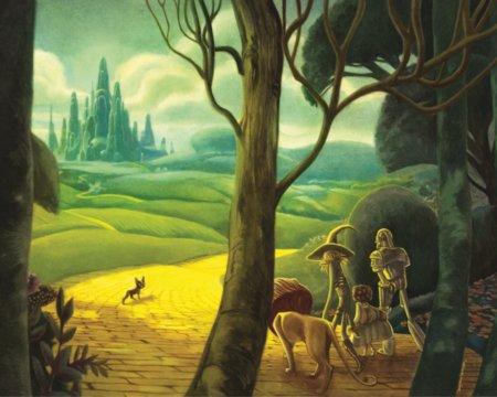 Der gelbe Ziegelsteinweg führt die fünf Gefährten in die Smaragdstadt zum großen Zauberer Oz ... © Jacoby & Stuart