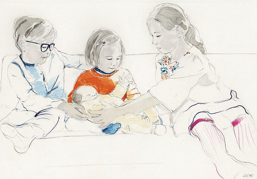 Ein Familienportrait – mit sehr viel Liebe zum Detail zeichnet Christine Sehm wertvolle Erinnerungen