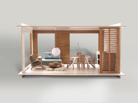 Mid Century Wohnwelt hinter Panoramafenstern – stylisches Bungalow Puppenhaus von Miniio