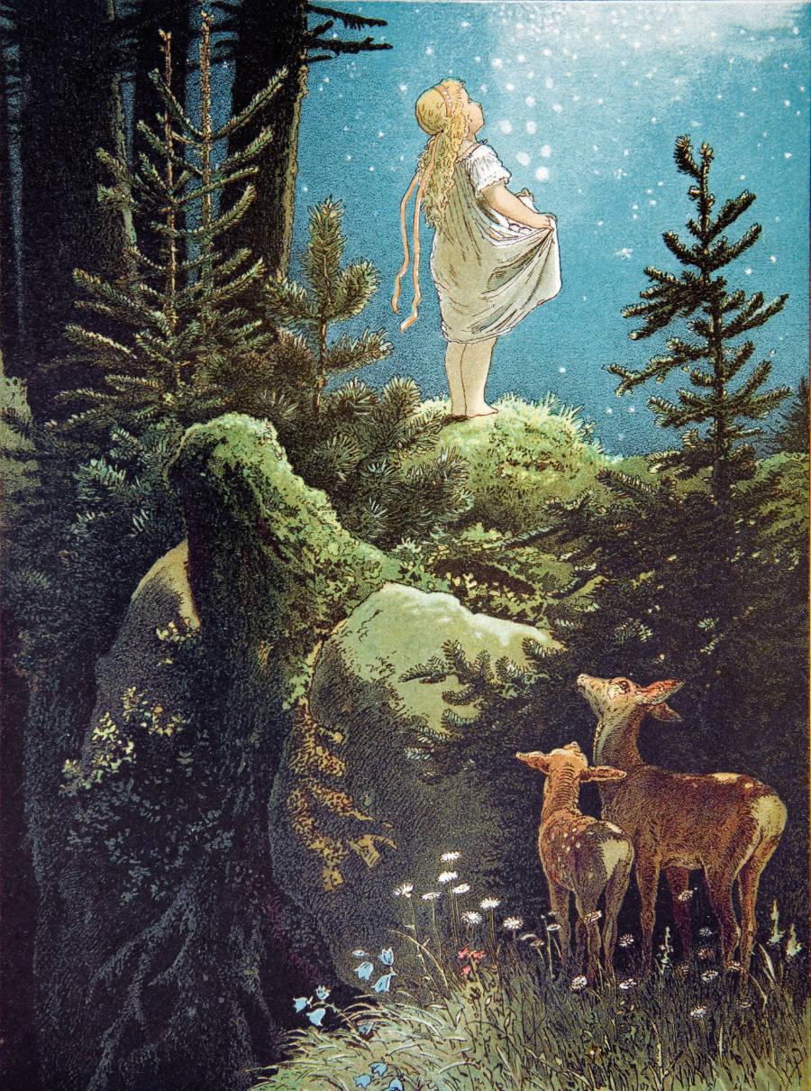 Da fielen auf einmal die Sterne vom Himmel ... Die Sterntaler, illustriert von Viktor P. Mohn, 1882 © Taschen