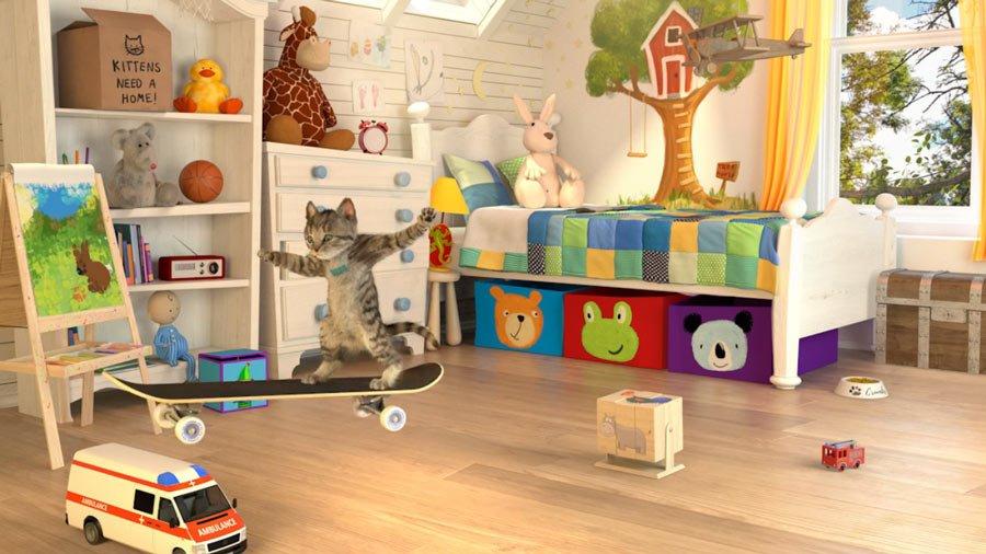 Mit Vollgas durchs Kinderzimmer: Neben waghalsigen Skateboard-Tricks hat der Stubentiger auch akrobatische Luftsprünge im Repertoire