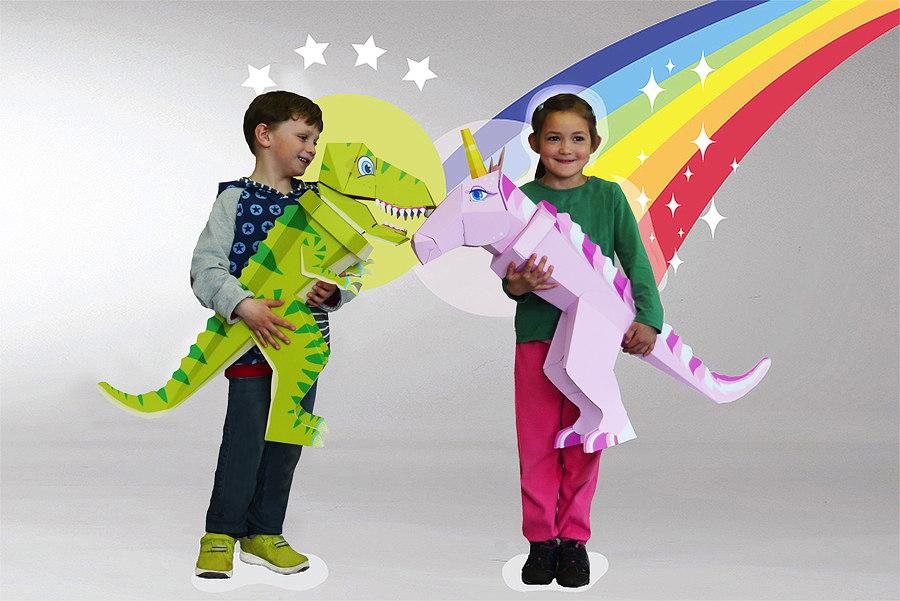 """Dinosaurier """"Schulrex"""" und Einhorn """"Emma"""" sind so stabil, dass sie nach dem ersten Schultag zu langlebigen Spielgefährten werden"""