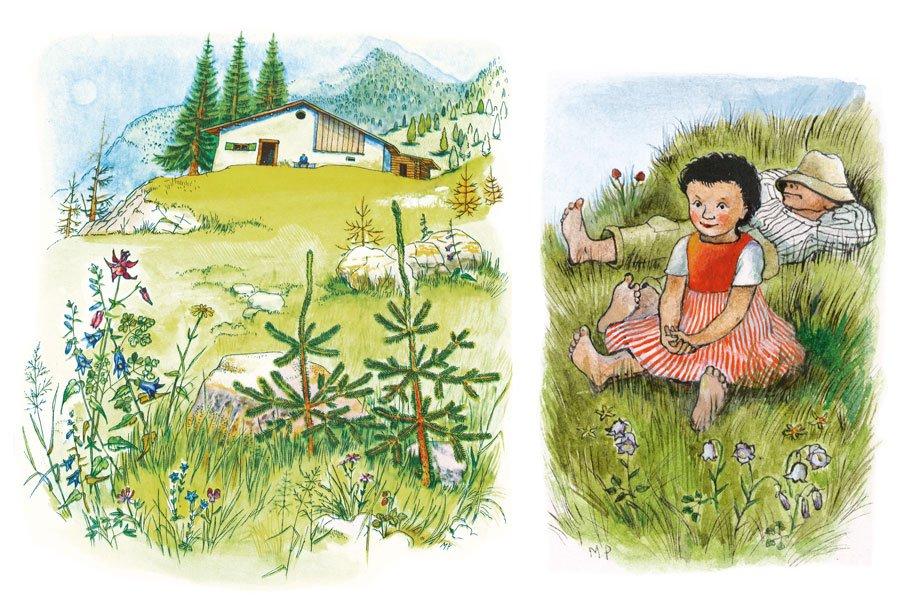 Die Neuauflage des Longsellers Heidi besticht durch die lebendigen Illustrationen von Martha Pfannenschmid © Werd & Weber Verlag