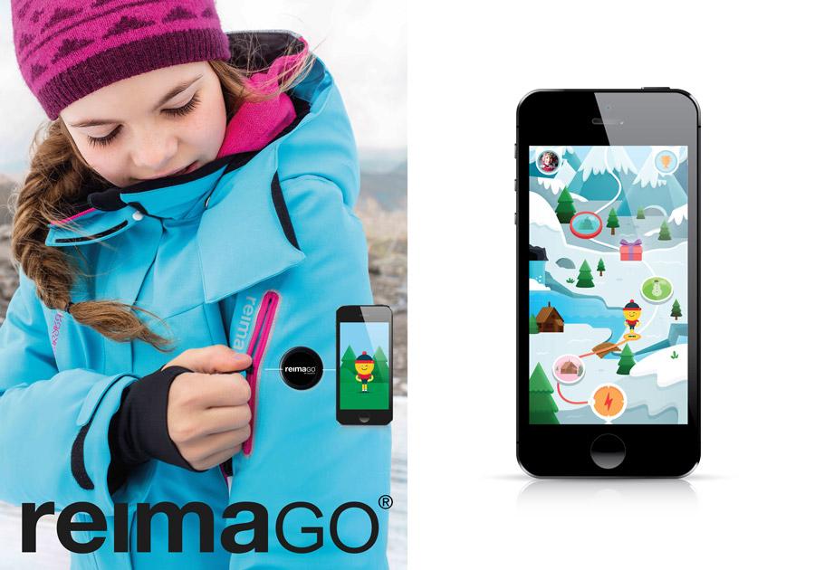 Warm eingepackt in der Winterjacke Moirana – der Sensor ReimaGO wird dank der spaßigen App zum ständigen Begleiter
