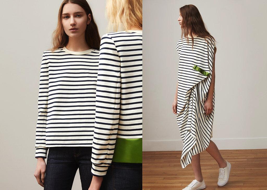 Die Marinière, neu interpretiert von der Designerin und ein kunstvoll drapiertes Jerseykleid. © Thomas Lohr