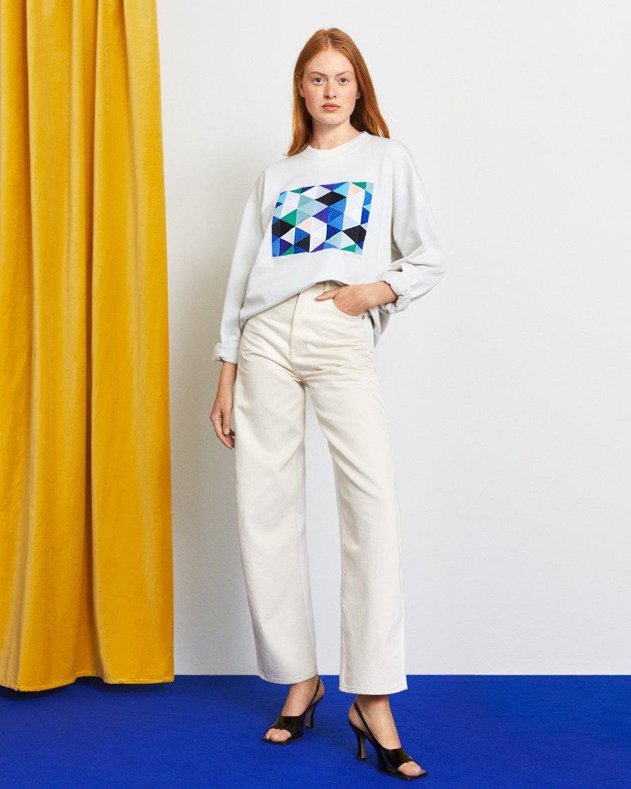 Kunst in der Mode: Die geometrischen Kompositionen von Farben, hier auf einem Sweater, sie sind ausschlaggebend für KG NILSONS Werk