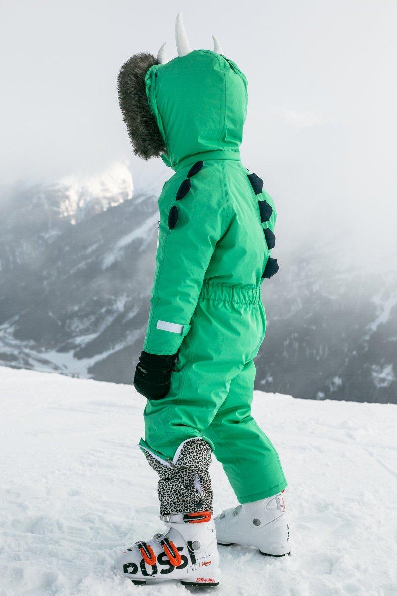 Niedliche Stacheln und eine Stiefelabdeckung in Leo-Optik – Schneeanzüge für Kinder mit viel Liebe zum Detail