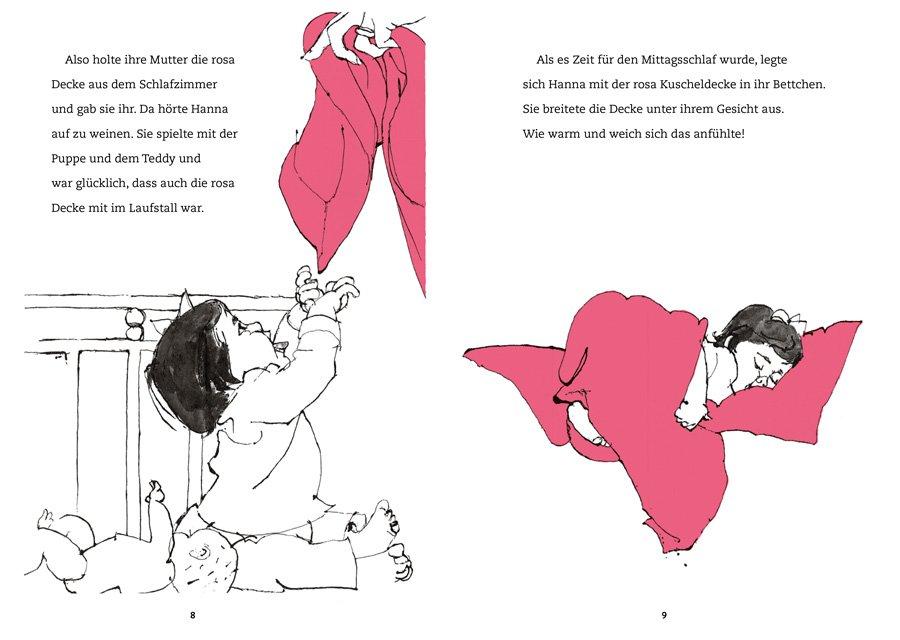 Hannas Kuscheldecke spricht mit seiner sensiblen Erzählweise und den klaren Illustrationen Kinder ab 4 Jahren an und löst bei Erwachsenen nostalgische Gefühle aus. © Kleine Gestalten 2017