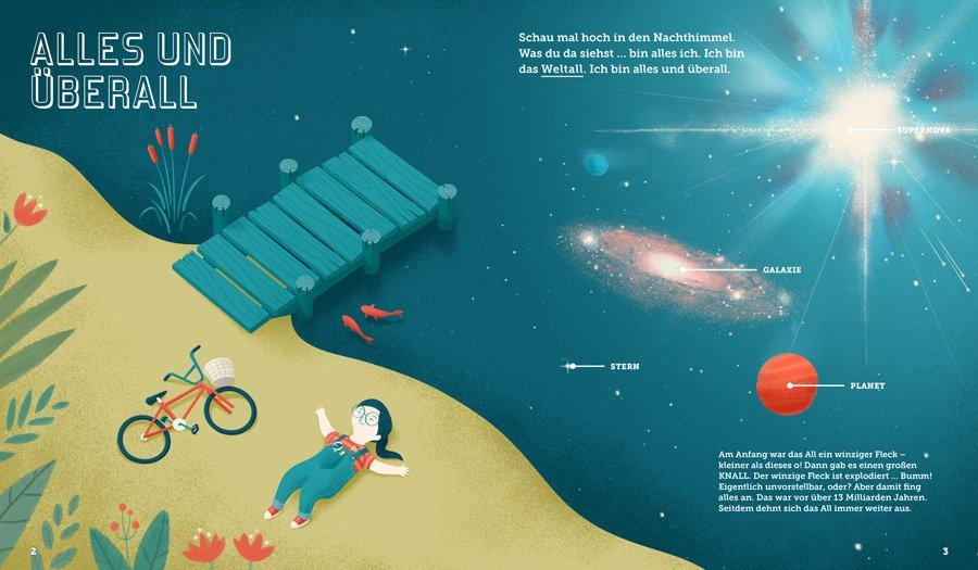 Ist das All unendlich? Kleine Erdlinge finden in Space Kids Antworten auf brennende Fragen © Kleine Gestalten 2018