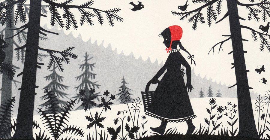 In jedem schönen Märchen steckt ein mutiges Mädchen. Rotkäppchen illustriert von Divica Landrová, 1959 © Taschen
