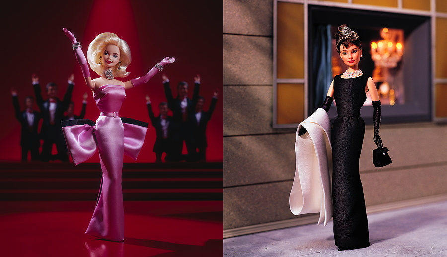 Barbie als Marilyn Monroe 1997 und als Audrey Hepburn in Breakfast at Tiffany's 1998 – Images © Mattel Inc.