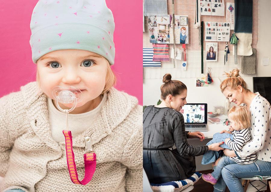 Fröhliche Farbtupfer - Sternchen-Mütze und Schnullerband GIPSY SOUL | Töchterchen Luna befühlt die kuschelweichen Babydecken