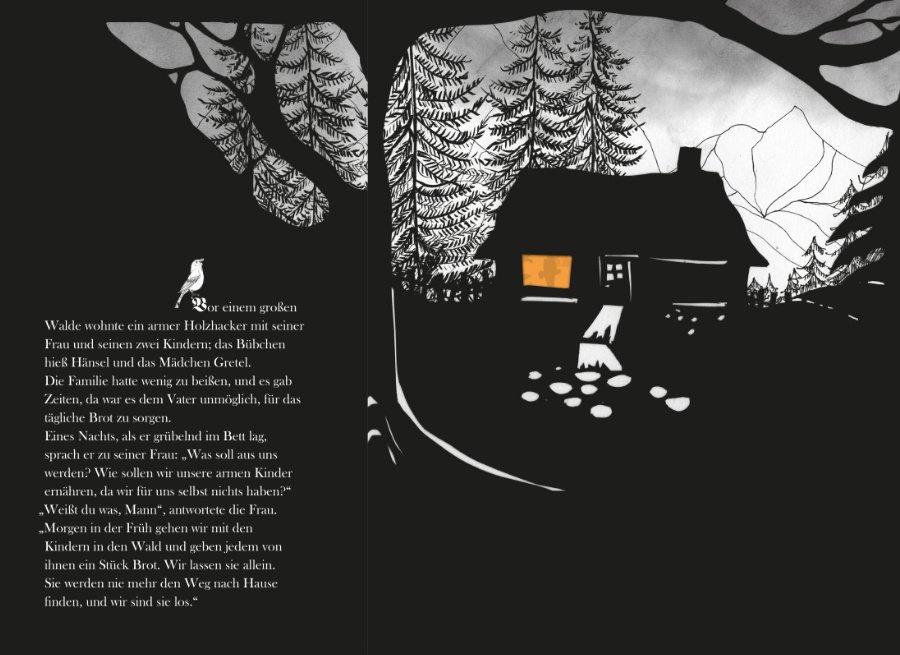"""Schon auf den ersten Seiten von """"Hänsel und Gretel"""" tut sich eine schaurig schöne Märchen-Atmosphäre auf © Minedition"""