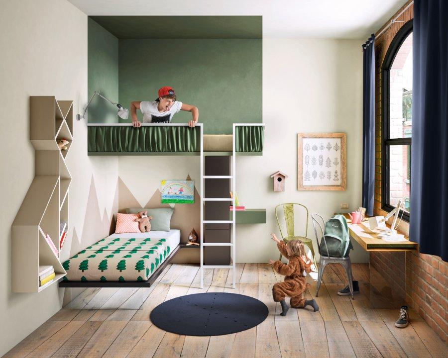 """Das baumhausartige """"Weightless Bed"""" von LAGO ist ideal, wenn sich der große Bruder mit der kleinen Schwester ein Zimmer teilen muss"""