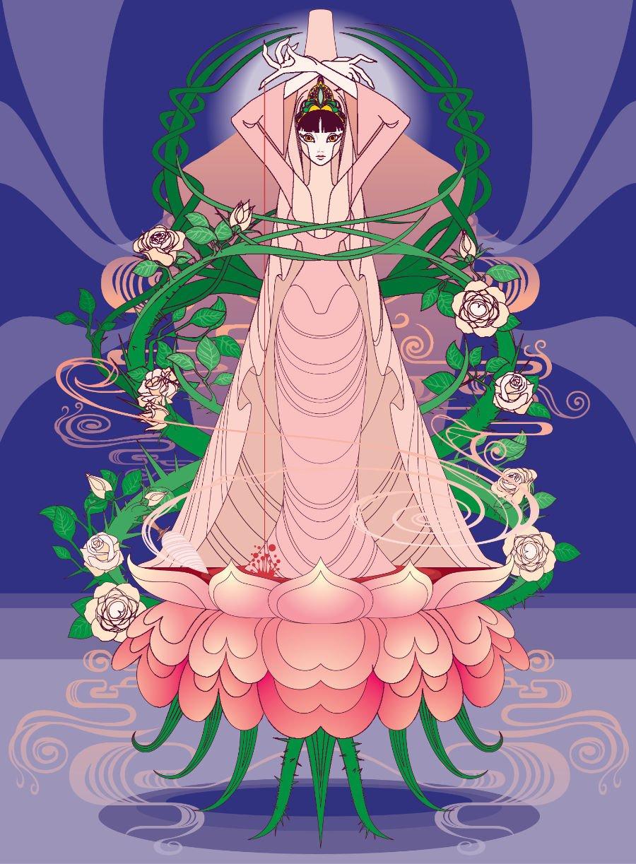 Dornröschen auf Japanisch: Miho Tei aka Erotic Dragon inszeniert den Märchenklassiker als einen Mix aus Gothic-Manga und Jugendstil © Kleine Gestalten