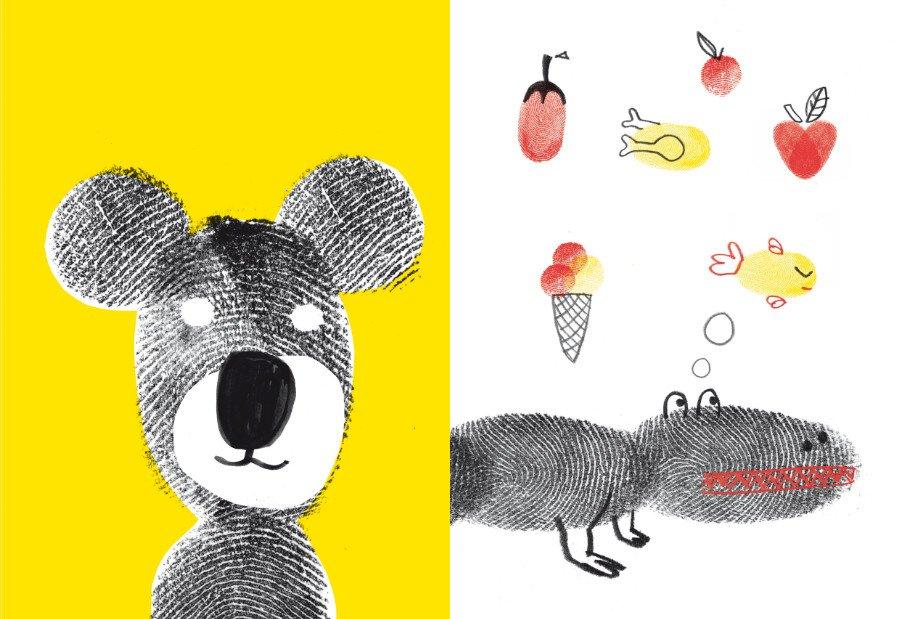Der kleine Bär träumt von Honig. Wovon träumt ein Krokodil? Na klar von Eistüten, Broilern und frischen Äpfeln © Knesebeck Verlag