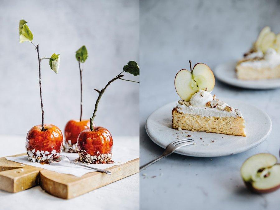Hingucker auf jeder Kaffeetafel: Karamelläpfel und Apfel-Quark-Torte © DK Verlag/Madeleine und Florian Ankner