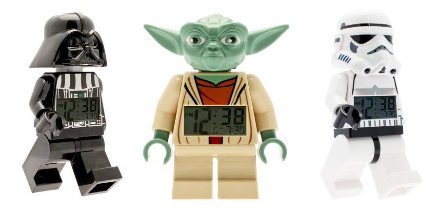 Star Wars Geschenke für LEGO-Fans: Darth Vader, Meister Yoda und ein Stormtrooper als Digitaluhren mit Weckfunktion