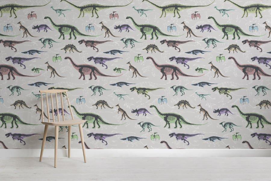 Bunte Dinosaurier-Skelette bilden die perfekte Kulisse für ein Kinderzimmer im Jurassic World Komplett-Look