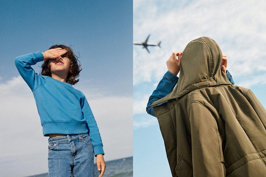 Blau wie der schwedische Himmel an Midsommar: Zur Kids-Linie gehören viele Unisex-Basics sowie funktionale Outdoormode