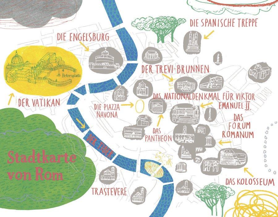Habemus mappa! Vom Vatikan bis zum Kolosseum finden Kinder hier alle wichtigen Sehenswürdigkeiten der ewigen Stadt