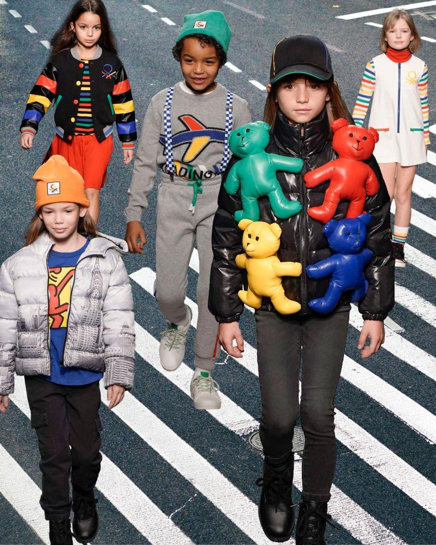 Modetrends 2020/21 in Castelbajacs' Benettown gesichtet! Was auffällt: Das Benetton Girl kleidet sich bei Jean-Charles tough und auf keinen Fall allzu girly