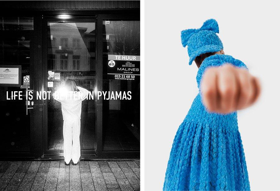 Visionär und stilbrechend: Caroline Bosmans taucht ein Rosetten-Kleid auch gerne mal in Electric-Blue