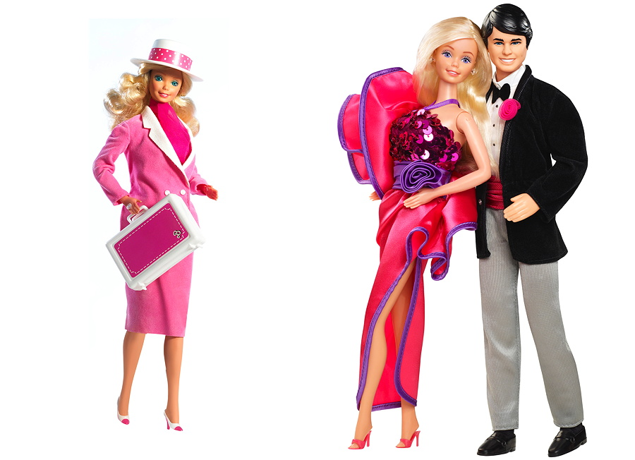 Die Day-to-Night Barbie von 1985 im Business Look und das Dream-Date-Couple im Jahr 1984 – Images © Mattel Inc.