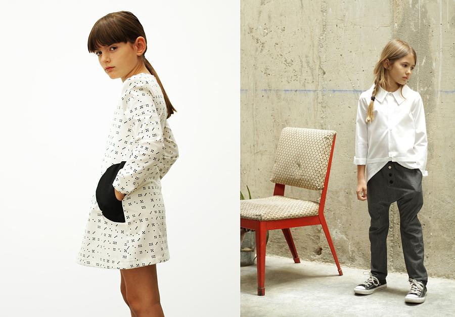 """Klares Design und raffinierte Details – das """"Noa Domino Dress"""" und die """"Fiona Blouse"""" in Kombination mit der """"Unisex Baggy Pant"""""""
