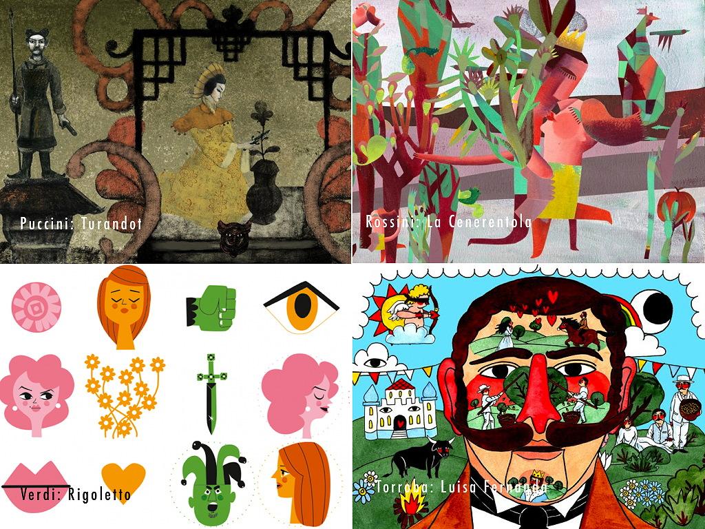 Illustrationen von Pablo Auladell, Marina Anaya, Mikel Casal und Ricardo Cavolo zu den Opern von Puccini, Rossini, Verdi und Torroba