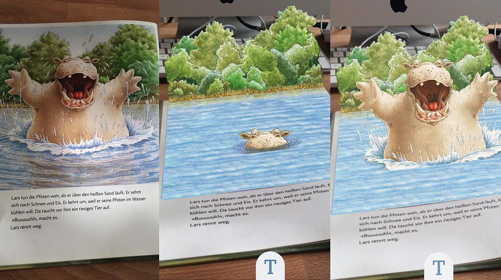 Links die Buchseite, in der Mitte und rechts zwei Animationen in 3D auf dem Display des Mobilgeräts (Aus dem Programm der TigerBooks Media/ Verlagsgruppe Oetinger)