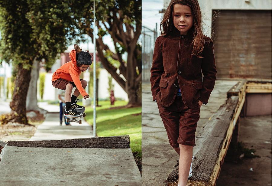 Harper und die Skater-Short in Aktion – ganz casual mit Hoodie und sehr klassisch mit Anzugjacke, im Pharrell Williams Style