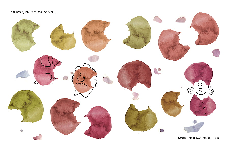 Variationen: Ein Fleck – viele Motive: Jeder sieht etwas anderes. © Verlag Antje Kunstmann