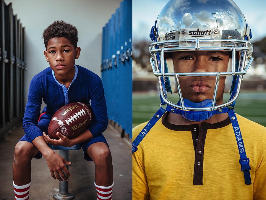 Footballspieler Amir in den ABC123me Henleyshirts aus biologischer Baumwolle