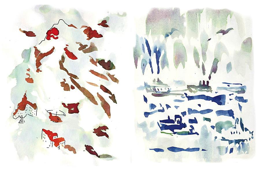 """Kombinationen: Mehrere Teile ergeben ein Ganzes – ob Berglandschaft oder Seestück: """"Betrachte eine Wand mit ihren Flecken und Rissen und du siehst dort ganze Landschaften mit Bergen und Flüssen, die bis ins Meer fließen."""" (Leonardo da Vinci) © Verlag Antje Kunstmann"""