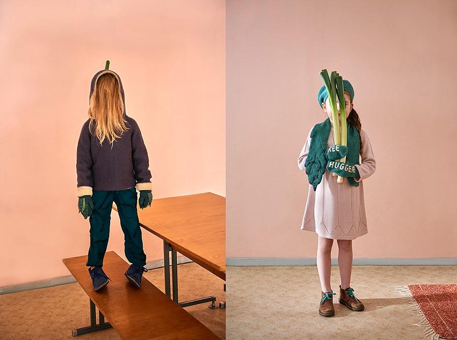 """Überzeugte Vegetarier tragen den EGGPLANT HOODIE und ARTICHOKE MITTENS, Ökofreaks den ASPARAGUS SCARF und Handschuhe mit der Aufschrift """"tree-hugger"""""""
