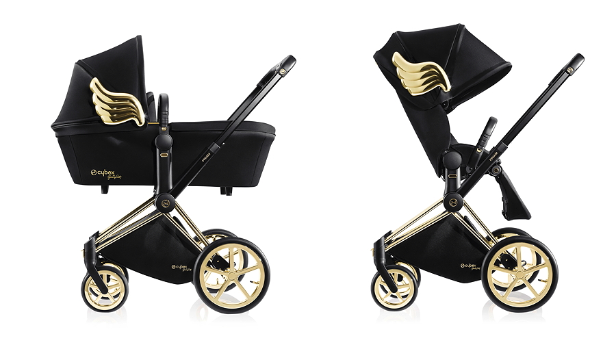 Coole CYBEX-Engel: PRIAM Carry Cot und PRIAM Lux Seat mit goldenem Flügelemblem