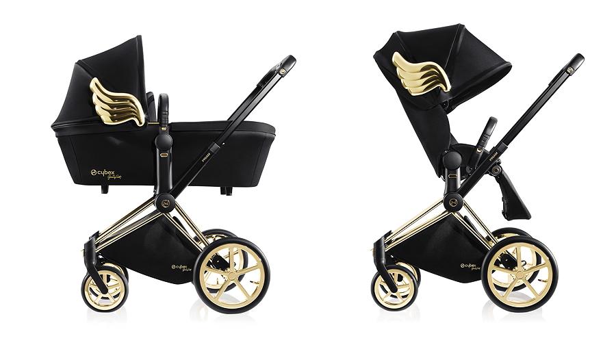 Coole CYBEX-Engel: PRIAM Carry Cot und PRIAM Lux Seat mit goldenem Flügelemblem