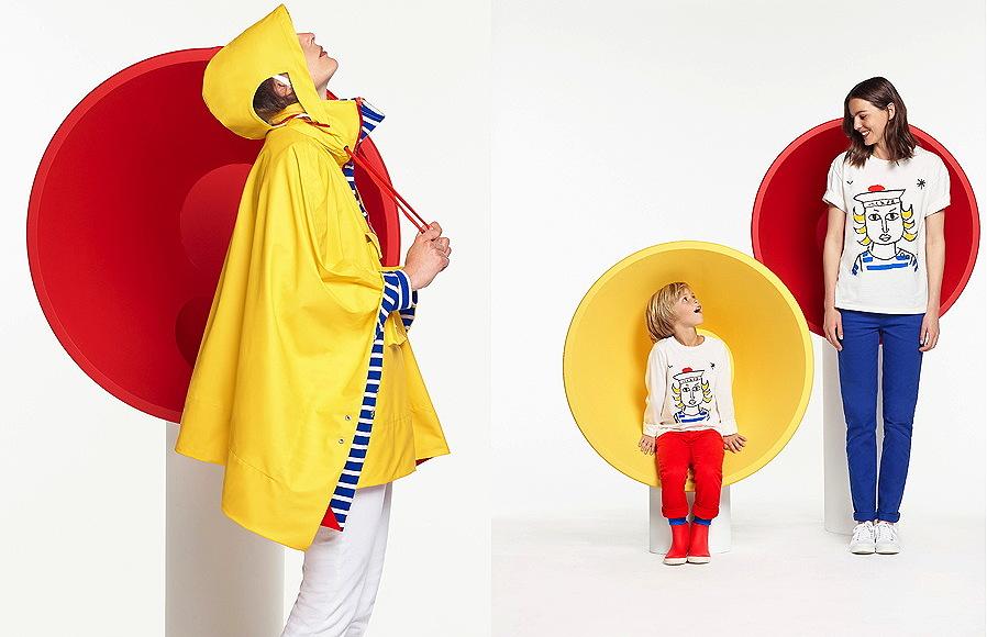 """Das Regencape """"PONCHO HISSEZ HAUT"""" ist ein Remake der ikonischen Petit Bateau-Regenjacke. Enkel Balthazar war Inspiration für die """"T-BALTHO""""-Shirts im Mini-Me-Look"""