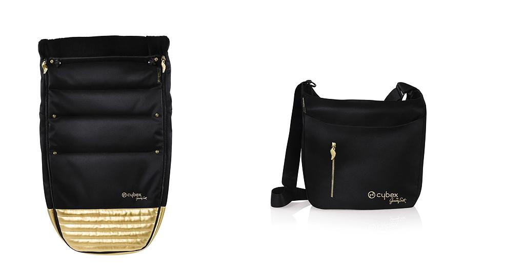 """Der """"CYBEX by Jeremy Scott"""" Fußsack sorgt für goldene und warme Füßchen. Die edle Wickeltasche könnte auch als Shopper durchgehen"""