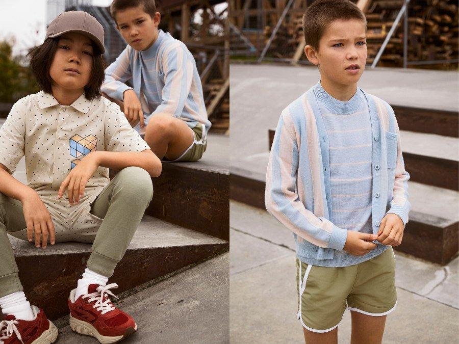 In Jungsaugen vielleicht etwas mädchenhaft: Das Twinset in Pastelltönen ist eine mutige Kombination zur jungenhaften Shorts