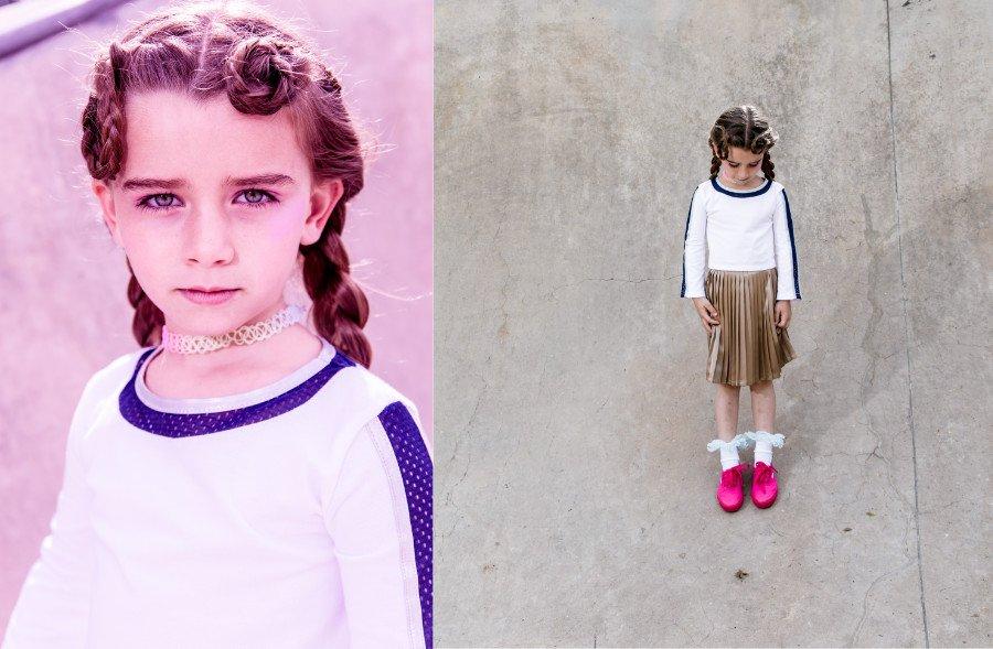 Athleisure Mode für stilbewusste Mädchen: Zum sportlichen Fonda Crop Top wird ein edler Faltenrock kombiniert