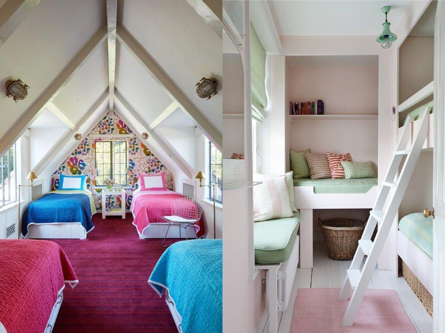 Drei ganze Betten in einem halben Zimmer!? Wenn vorm Fenster das Meer liegt, geht das, wie dieses Strandhaus in Devon (Bild rechts) beweist, Fotos © Roger Davies (li) und © hám interiors (re), Kinderkram, Gestalten 2018