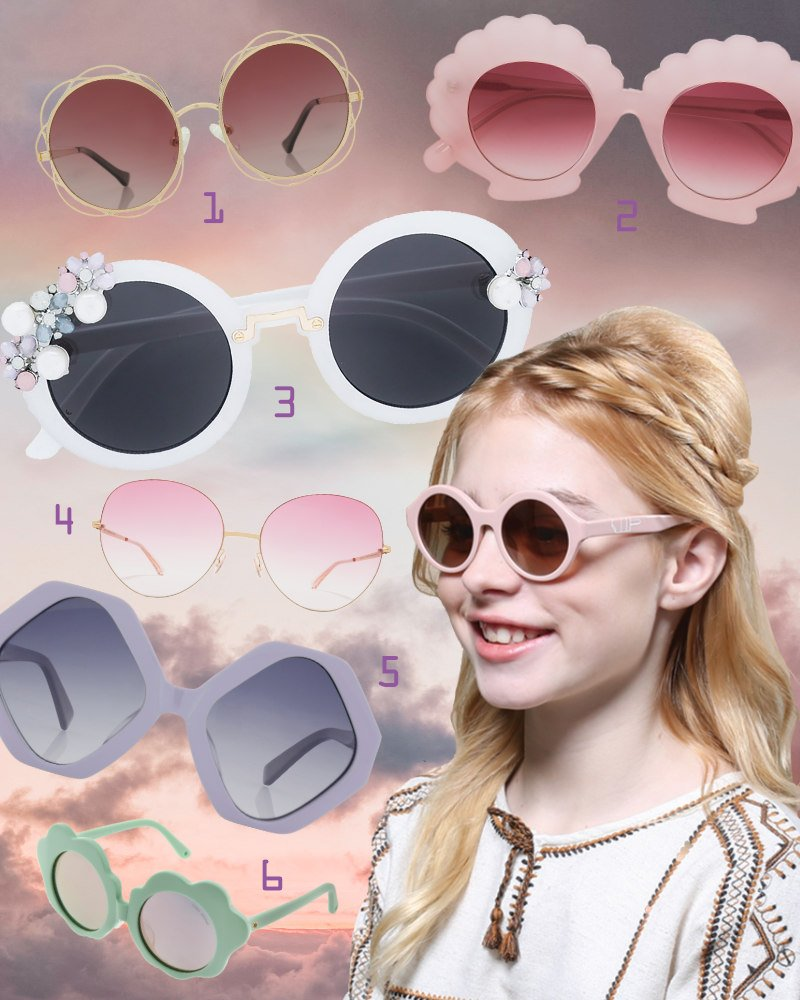 """Designer Sonnenbrillen für Mädchen wie die """"Hazel"""" von Winkniks in den Farben einer Zuckerwatte-Traumwelt"""